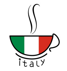 coffee cup with the italian flag vector image
