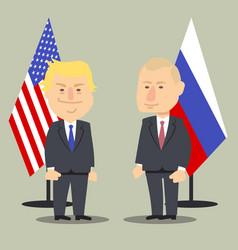 donald trump and vladimir putin standing together vector image vector image