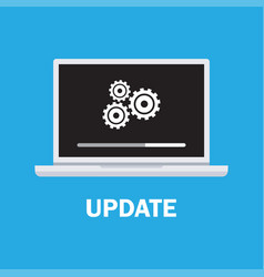 laptop and gears data update vector image
