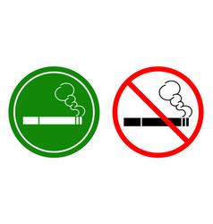 non-smoking signs and a smoking area vector image vector image