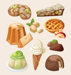 Set of italian desserts vector image vector image
