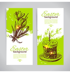 Set of vintage Easter banners with hand drawn vector image vector image
