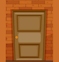 wooden door on brick wall vector image vector image