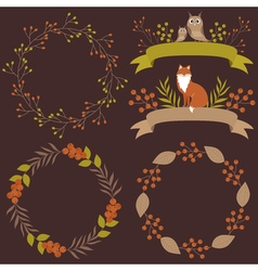 Woodland Wreath And Ribbons Set vector image