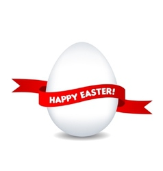 Easter egg with red ribbon isolated on white vector image vector image