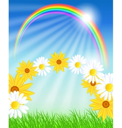 Flowers with green grass and rainbow vector image vector image
