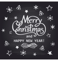 Merry christmas and happy new year chalk hand vector