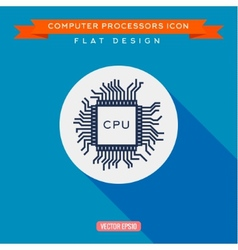 Processor icon CPU Long shadow flat design vector image vector image