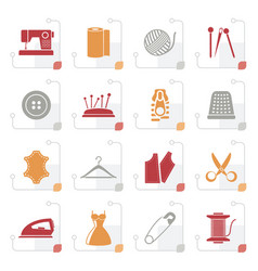 stylized sewing equipment and objects icons vector image vector image