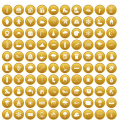 100 snow icons set gold vector