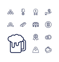 13 gold icons vector