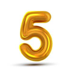 5 five number golden yellow metal letter vector image
