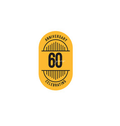 60 years anniversary celebrations retro template vector