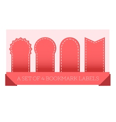 A set of 4 bookmark labels red vector image