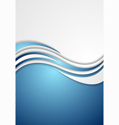 abstract blue grey wavy tech background vector image