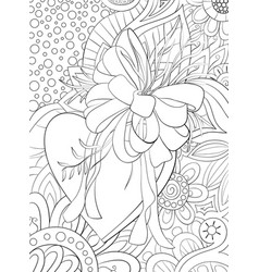 adult coloring bookpage a valentines heart on the vector image