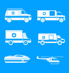 ambulance transport icons set simple style vector image