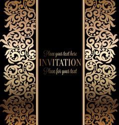 Wedding invitation black gold vector images over 1700 antique baroque wedding invitation gold on black vector stopboris Gallery