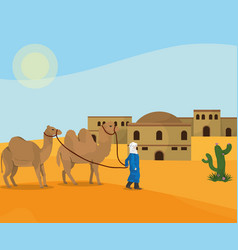 Arab desert town vector