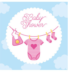 Baby shower invitation clothes sock hanging with vector