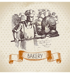 Bakery sketch background vector image