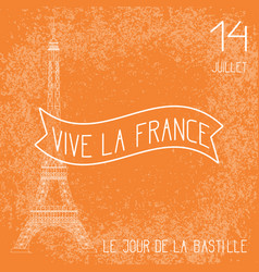 bastille day french national holiday the eiffel vector image