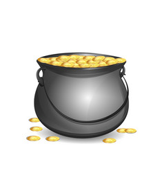 Big mythical pot with full gold coins vector