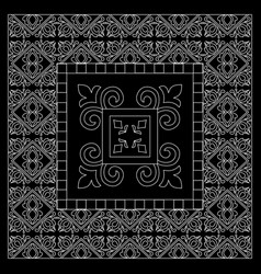 Black and white bandana print with tiling pattern vector