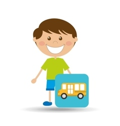 boy cartoon school bus icon design vector image