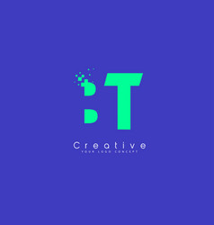 bt letter logo design with negative space concept vector image