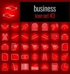 Business icon set 3 white line icon on red vector
