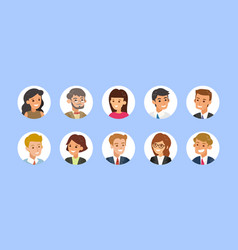 business people avatar collection young adults vector image