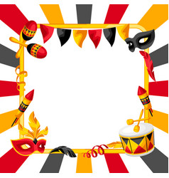 Carnival party background with celebration icons vector