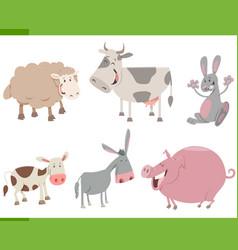 cartoon farm animal characters set vector image