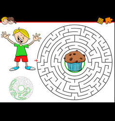 Cartoon maze game with boy and muffin vector
