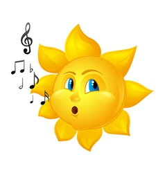 Cartoon sun blowing notes vector