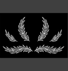 Chalk set with branches and laurel wreath vector