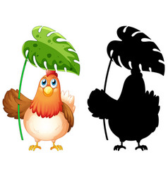 chicken holding leaf with its silhouette vector image