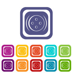 Clothing square button icons set flat vector