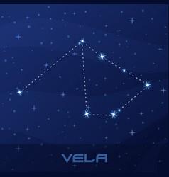 Constellation vela sails night star sky vector