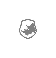 creative gray rhinoceros logo design symbol vector image