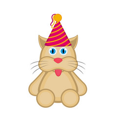 cute cat with a party hat icon vector image