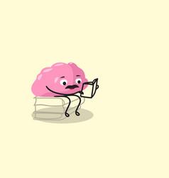 Cute human brain organ sitting on books stack pink vector