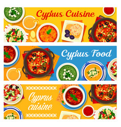 cyprus cuisine cypriot meals banners set vector image