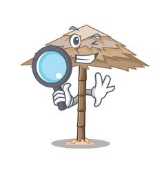 Detective character tropical sand beach shelter vector