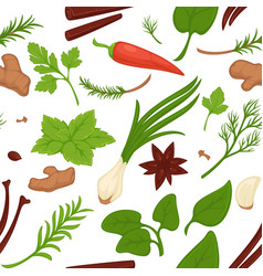 dill and parsley greenery and herbs seamless vector image