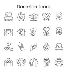 donation charity icons set in thin line style vector image