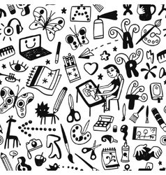 Drawing art tools - seamless background vector