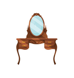 dresser with oval mirror and shelves wooden vector image