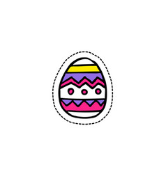 easter egg doodle icon sticker vector image